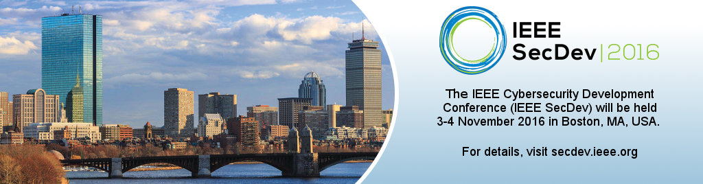 The IEEE Cybersecurity Development Conference (IEEE SecDev) will be held 3-4 November 2016 in Boston, MA, USA.